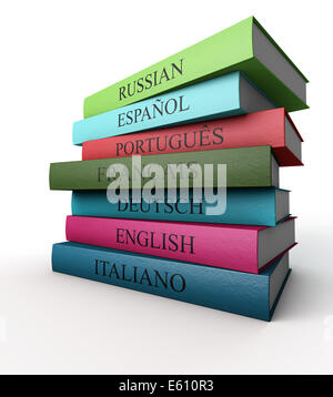 Seven dictionaries each other, Italian, French, Spanish, Portuguese, Russian, German and English - Stock Photo
