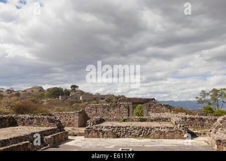 Tomb 105 at Monte Albán - Santa Cruz Xoxocotlán, Centro District, Valles Centrales, Oaxaca, Mexico - Stock Photo