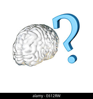 Isolated white human brain with a blue question mark - Stock Photo