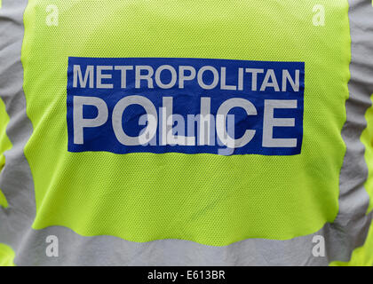 Metropolitan Police Officer, Rear View, Close Up. - Stock Photo