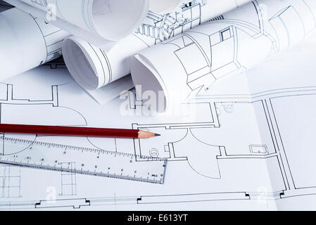 Architecture blueprints with pencil and ruler - Stock Photo