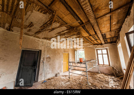 Dead floor of a ceiling in need of renovations, old school building from the early 19th century - Stock Photo