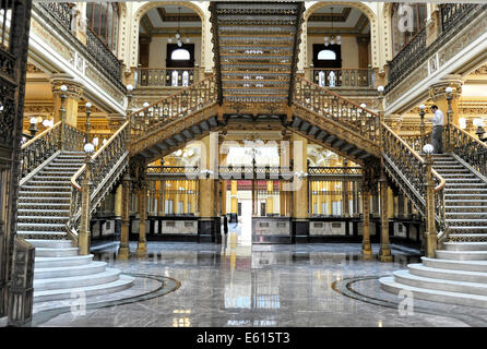 Interior view, the historic Main Post Office of Mexico City, Federal District, Mexico - Stock Photo
