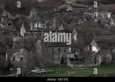 Abandoned village of Jánovas, evacuated by dictator Franco, Pyrenees, Spain - Stock Photo