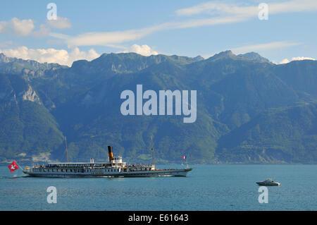 La Suisse paddle steamer on Lake Geneva, Saint-Saphorin, Lavaux, Canton of Vaud, Switzerland - Stock Photo