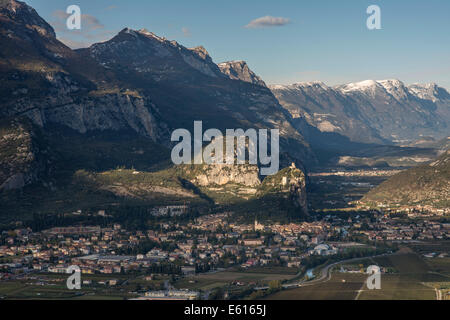 Cliffs with the ruins of Arco Castle or Castello di Arco above Arco, Sarca Valley, Trentino-Alto Adige, Italy - Stock Photo