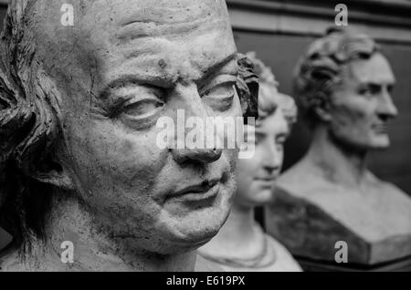 Sculptures by Pierre-Jean David or David d'Angers, in the Galerie David d'Angers, part of the Musée des Beaux-Arts - Stock Photo