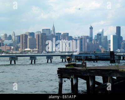 New York City, USA. 22nd June, 2014. A view across the East River and the skyline of Manhattan in New York City, USA, 22 June 2014. Photo: Alexandra Schuler/dpa - NO WIRES SERVICE -/dpa/Alamy Live News