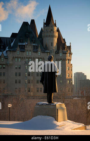 Statue of Sir Wilfred Laurier on the grounds of Canada's Parliament Buildings (House of Commons). - Stock Photo