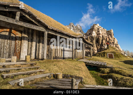 Viking era movie set, Stokksnes, Hornafjordur, Eastern Iceland - Stock Photo