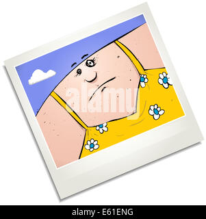 Illustration of a polaroid of a man in a dress. - Stock Photo