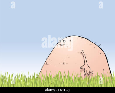Illustration of a slightly older and much pinker and fatter lagoon creature in the garden. - Stock Photo