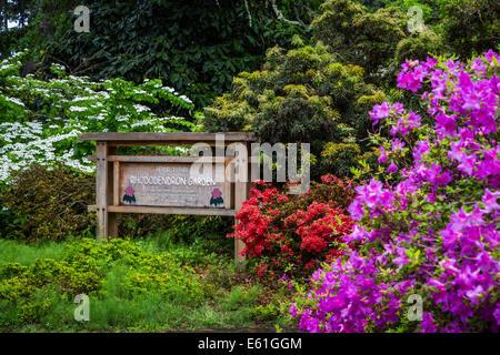 Hendricks Park and Gardens park sign in Eugene, Oregon, USA. - Stock Photo