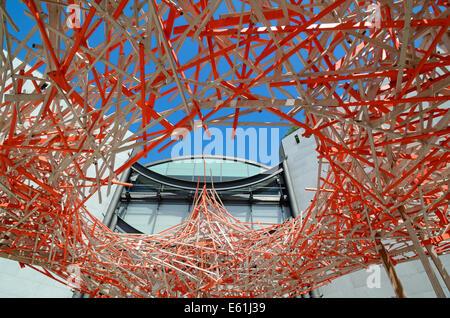 Wooden Sculpture or Installation by Belgian Artist Arne Quinze 'Hommage à Alexander Calder' Modern Art Museum Nice - Stock Photo
