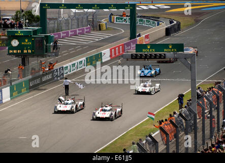 Finish line of 2014 Le Mans 24 hour race Audi R18 e-tron car number 2 the winner - Stock Photo