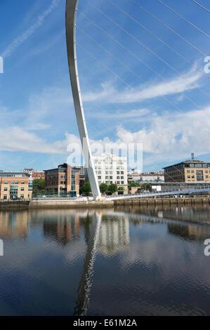 Gateshead Newcastle Millennium Bridge over river Tyne north east England UK - Stock Photo