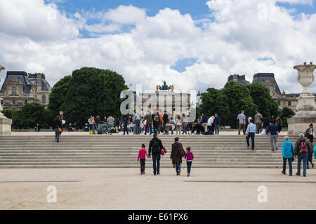 Tourists and visitors at the Tuileries Garden [Jardin des Tuileries] in Paris, France - Stock Photo