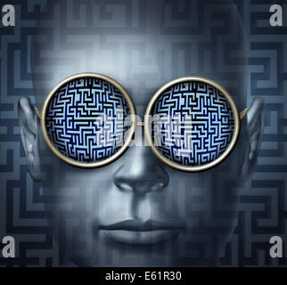 Global solutions business concept as a human head wearing glasses with a maze or labyrinth as a symbol for guidance - Stock Photo