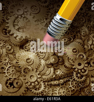 Losing function concept as a frontal head made of machine gears and cogs on a grunge background being erased by - Stock Photo