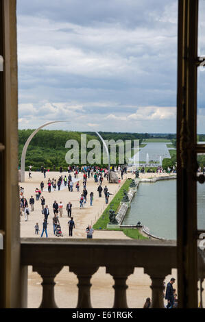 View from the window of the Palace of Versailles in France - Stock Photo
