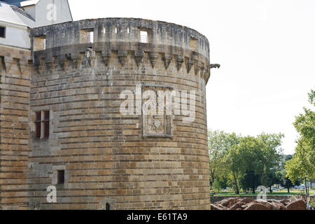 NANTES, FRANCE - JULY 25, 2014: tower of Castle of the Dukes of Brittany in Nantes, France. The Castle it served - Stock Photo
