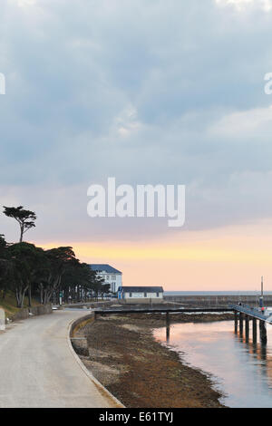 LE CROISIC, FRANCE - JULY 26, 2014: gloaming over urban port in Le Croisic town, France. Le Croisic is town in Loire - Stock Photo
