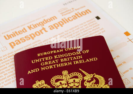 Completing a United Kingdom Passport Application Form - Stock Photo