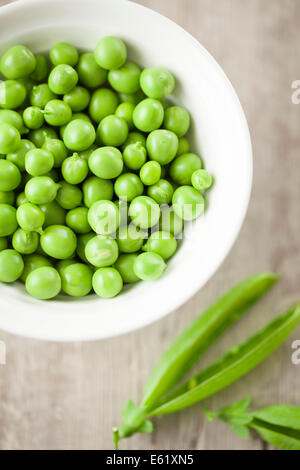 Shelled Peas in Bowl - Stock Photo