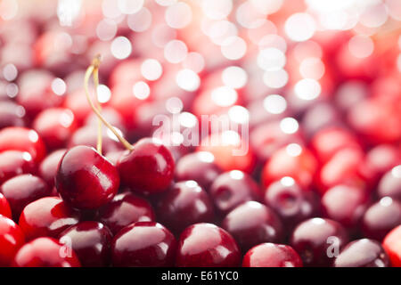 Red cherries background. Shallow depth of field.
