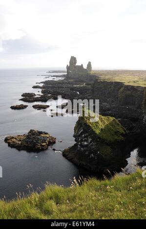 Bird rock at Londrangar on Snaefellsnes Peninsula in Northern Iceland - Stock Photo