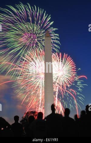 Fireworks on National Mall with Washington Monument - Stock Photo