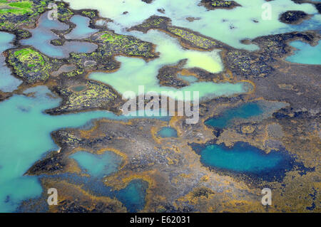 Aerial photo of delta patterns from melting glacier at the mouth of Olfusa River in Southwest Iceland - Stock Photo