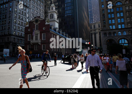 Old State House on the Freedom Trail, Boston, Massachusetts, USA - Stock Photo