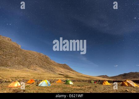 Tent camping at Hatun Machay rock climbing place, Cordillera Negra, Peru, South America - Stock Photo