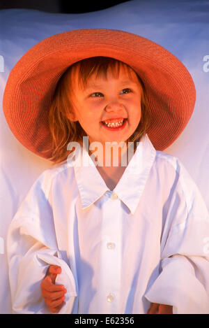 Girl 3 years old in fashionable and stylish hat - Stock Photo