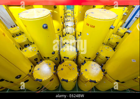 Radioactive waste is stored in barrels and Castor containers prior to permanent waste storage, Nuclear Research - Stock Photo