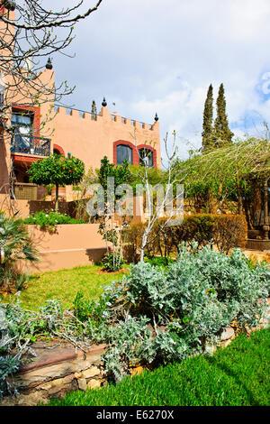 Morocco, Asni. Gardens at Richard Branson\'s Kasbah Tamadot luxury ...