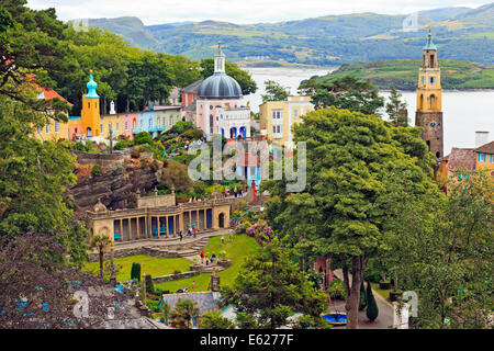 View over Portmeirion Village and Whitesands Bay, Wales - Stock Photo