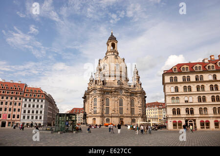 Frauenkirche and Neumarkt new market square in Dresden, Saxony, Germany, Europe - Stock Photo