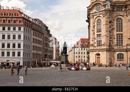 Martin Luther statue in front of the Frauenkirche  on  Neumarkt new market square  in Dresden, Saxony, Germany, - Stock Photo