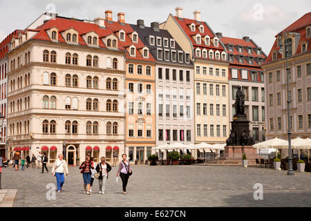 renovated facades on  Neumarkt new market square  in Dresden, Saxony, Germany, Europe - Stock Photo