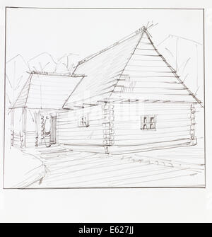 architectural perspective of wooden chalet, drawn by hand - Stock Photo