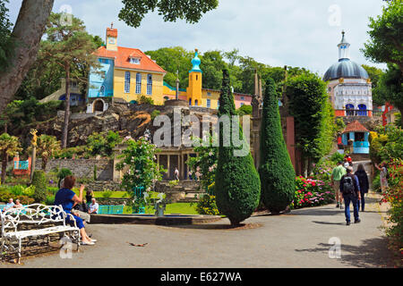 The Central Piazza in Portmerion Village, Wales - Stock Photo