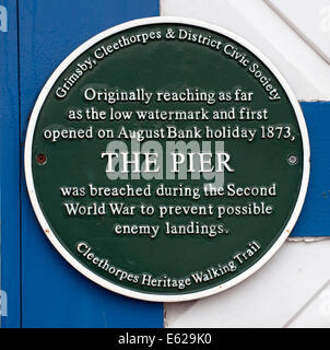 Green plaque at Cleethorpes Pier, Cleethorpes, North East Linolnshire. - Stock Photo