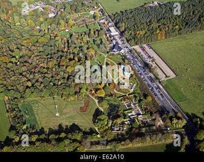 aerial view of the RHS Harlow Carr Gardens near Harrogate, North Yorkshire, UK - Stock Photo