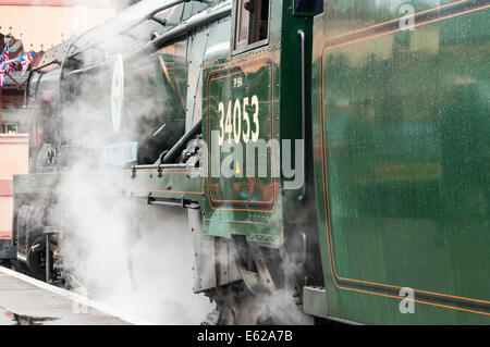 Bulleid light Pacific 4-6-2 steam loco no 34053 Sir Keith Park at Kidderminster railway station - Stock Photo