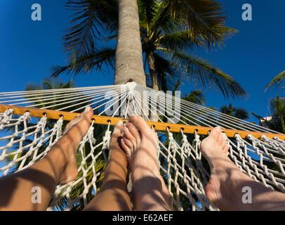 feet of couple in hammock under palm tree - Stock Photo