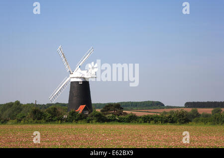 A view of Burnham Overy Staithe windmill by the A149 coast road at Burnham Overy, Norfolk, England, United Kingdom. - Stock Photo
