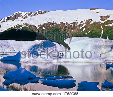 Icebergs from the Portage Glacier melting in Portage Lake in Chugach National Forest in Alaska USA - Stock Photo