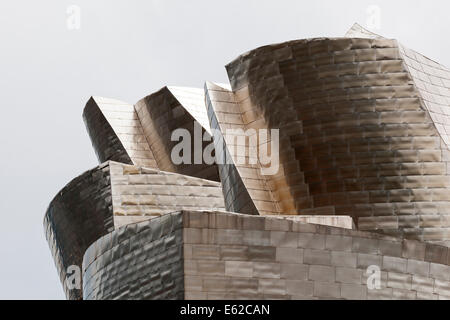 Frank Gehry refers to a 'buttery' look to titanium used for the exterior cladding of the Guggenheim Museum Bilbao, - Stock Photo